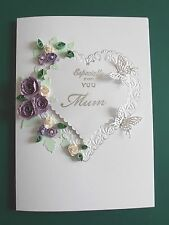 Personalised Handmade Birthday Card Purple Quilled Roses and Butterflies