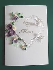 Personalised Handmade Mums Birthday Card Purple Quilled Roses and Butterflies