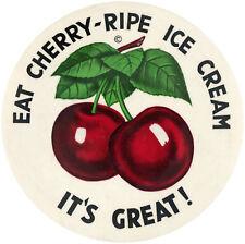 "RETAIL CLERK'S BIG 3.5"" PROMO PINBACK BUTTON ""EAT CHERRY-RIPE ICE CREAM"" C. 1940"