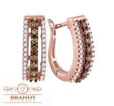 Brandy Diamond® Chocolate Brown 10K Ravishing Rose Gold Sparkling Earrings .50C