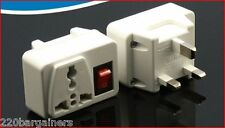 UK Plug Adapter W/ Power ON/OFF Switch -British Style 3-Pin Adapter