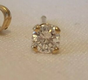 Single Natural Genuine Diamond Earring Stud 3mm Top Quality 14ct Yellow Gold