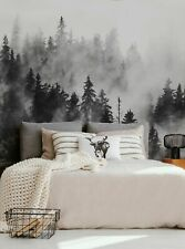 Morning Forest Fog Mural Wall Art Wallpaper - Peel and Stick