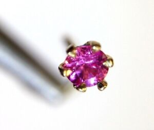 New | 14K Yellow Gold Natural .10CT 3mm Pink Sapphire Nose Stud Screw