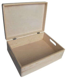 Medium pine wood storage trunk chest box DD169 40x30x14CM treasure jewellery