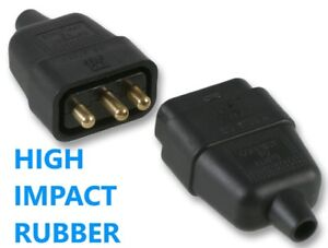 3 Pin Rubber Black Mains Electrical 250V 10 Amp Inline In-Line Connector Extend