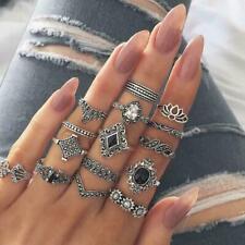 15 teile/satz Finger Ring Vintage Hohl Lotus Punk Knuckle Ringe Schmuck U2S6