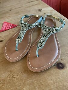 Turquoise Leather Toe Post Sandals - Size 6