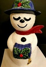 Mrs Snowman Snow Lady Figure Statue w Hat + Mitt Ceramic Glaze