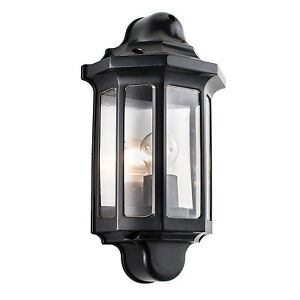 Endon Traditional half lantern outdoor porch wall light IP44 60W black paint pc