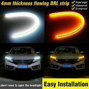 2PCS Sequential LED Strip Turn Signal Indicator DRL Daytime Running Car Light