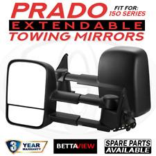 BettaView Extendable Caravan Towing Mirrors Toyota Landcruiser Prado 150 Black