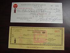 Lot of 2 Vintage 1963 1973 Coca Cola Bottling Company Checks Cancelled