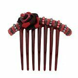Caravan French Twist Comb Decorated In 2 Tone Wrapped Rose&Multiple Beads
