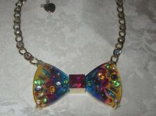 Betsey Johnson Rainbow Connection Lucite Bow Pendant Necklace NWT 40% Off