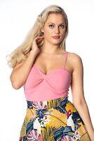 Women's Pink Vintage Retro Sweetheart Neck Wrap Front Vest Top BANNED Apparel