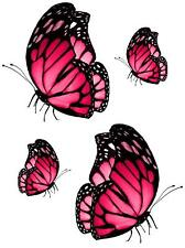 Set 4x sticker decal car laptop macbook kitchen butterfly pink room funny vinyl