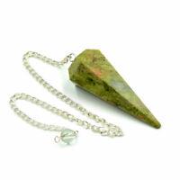 35-45 MM Long Natural Unakite 6 Facet Dowsing Pendulum Chakra Healing Crystal