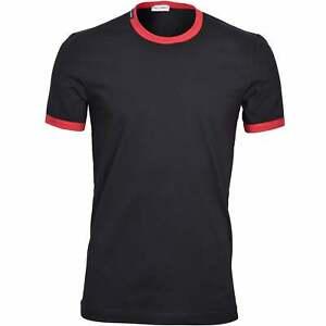Dolce & Gabbana Sport Contrast Trim Logo Men's T-Shirt, Black/red