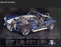 Cutaway's-David Kimble-3 Set! Collection Cobra/Ferrari/Porsche Car Poster! Rare