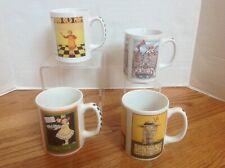 Lot of 4 Mary Engelbreit Mugs w/ Check Handles ~ Lives Mom Fun Queen ~ Vgc