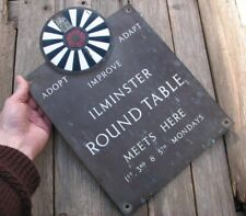 Old Reclaimed Brass Ilminster Round Table Sign Plaque