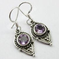 "925 SOLID Silver CUT AMETHYST 100% NEW Handmade 1 Pair Earrings 1.3"" OXIDIZED"