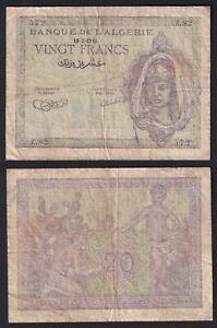 Algeria 20 francs 1943 BB-/VF-  A-01
