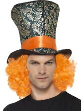 Negro Multicolor Sombrero de copa con Naranja Pelo Adulto Accesorio disfraz