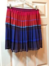 ELLE Women's Size10 Skirt Multi Colored Chiffon Pleated Fully Lined EUC