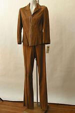 NWT Vakko Goat Suede and Snake skin Trim Pant Suit Blazer 8