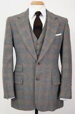 Vintage Botany 500 Cartier Mens Gray Plaid Wool 3pc Suit Jacket Pants Vest 39S