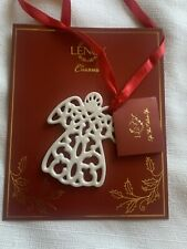 Lenox Charms Fine Ivory China Pierced Angel Gift Tag Christmas Tree Ornament New