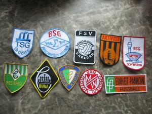 10 Aufnäher von DDR - Fußball Teams