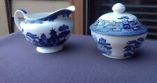 Blue Willow Sugar Bowl Dish W/Lid & Creamer Blue & White Made In England