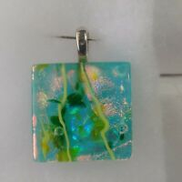 """Dichroic Glass Pendant Green Pink Lime Square Shape Silver Color Bale 1.5"""""""