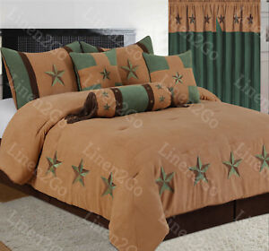 Rustic Gold+Turquoise Embroidery Texas Star Western Luxury Comforter Suede 7Pc's