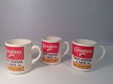 "Set of 3 Carnation HOt Cocoa Mix Cup Mug VGC CUTE 3.75"" tall x 3"" diam"