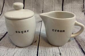 2006 California Pantry Black and White Ceramic Creamer and Sugar Bowl W Lid