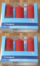 2 PACK of Westinghouse Flameless LED Red Candles - 3 Candles Per Pack