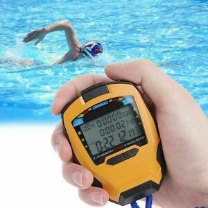 Digital Handheld Sports Stopwatch LCD Stop Watch Timer Alarm Counter Waterproof