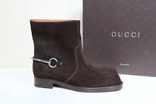 New sz 6.5 / 36.5 GUCCI Brown Suede Horsebit Ankle Riding Boot Shoes