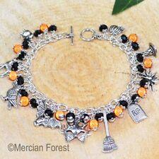 DOLCETTO o Scherzetto Halloween Bracciale con Charm-Arancione e Nera-gioielli spettrale