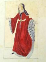 VINTAGE FINE ART ORIGINAL DRAWING OLD LADY IN RED RELIGIUS