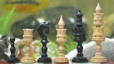 Indische Schönheit – Handgemachte Lotosblüte Ebenholz Schachfiguren Chessbazaar