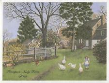 VINTAGE THOMPSON NEELY FARM PA SPRING FORSYTHIA LILAC BUSH CHILD BARN GOOSE CARD