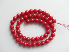 5pz  perline in corallo rosso naturale tondo 8mm bijoux