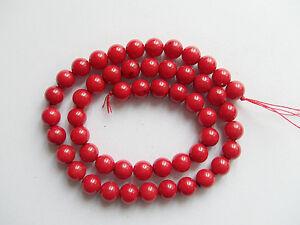 48pz/filo  perline in corallo rosso naturale tondo 7mm bijoux