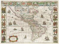 MAP ANTIQUE BLAEU AMERICAN CONTINENTS HISTORIC LARGE REPRO POSTER PRINT PAM0565