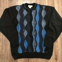 Men's Vintage 90s Travel Smith 3D Textured Hip Hop Biggie Rap Sweater Sz Medium